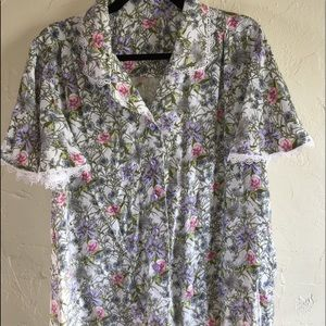Flowery Button Down Blouse
